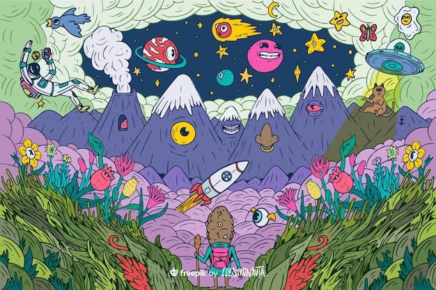 Fond D'illustration De Créatures Colorées Et Effrayantes Vecteur gratuit