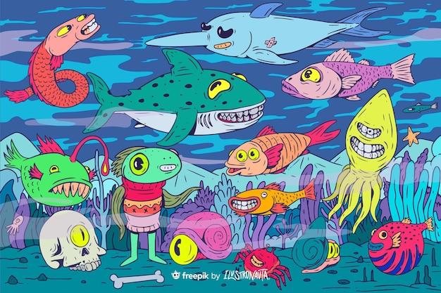Fond D'illustration De Créatures Colorées Et Effrayantes Vecteur Premium