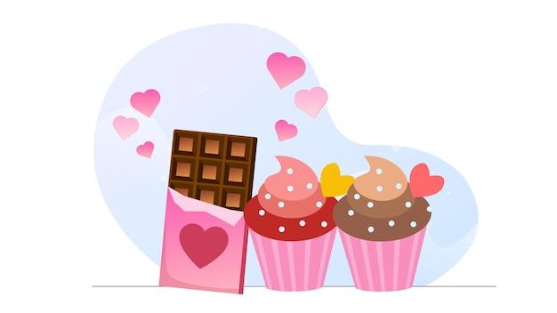Fond d'illustration de dessert au chocolat valentine