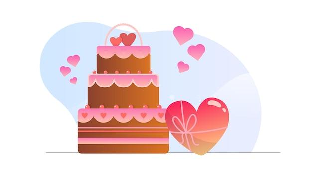 Fond d'illustration de gâteau d'amour de la saint-valentin