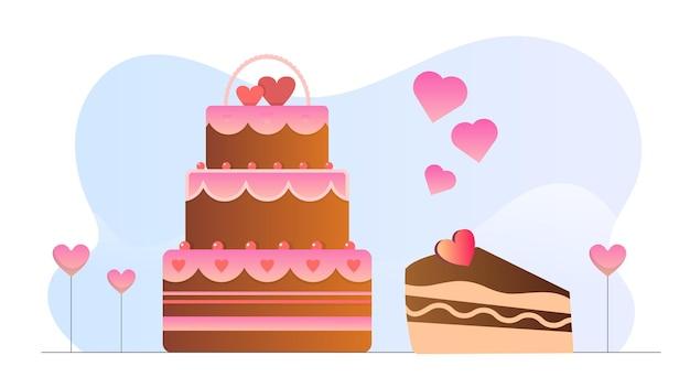 Fond d'illustration de gâteau au chocolat saint-valentin
