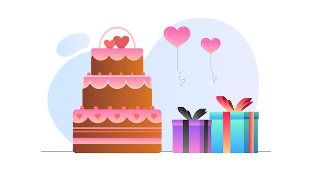 Fond d'illustration de gâteau et de cadeaux saint-valentin
