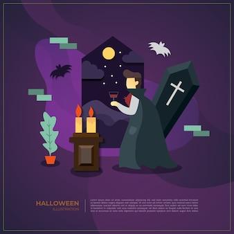Fond d'illustration halloween vecteur vampire.