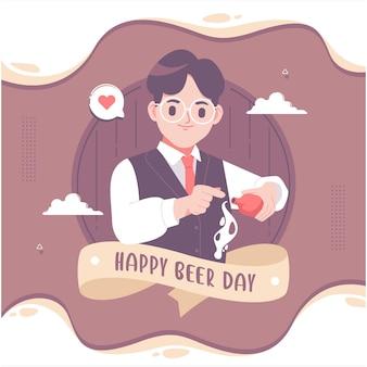 Fond d'illustration joyeux jour de la bière