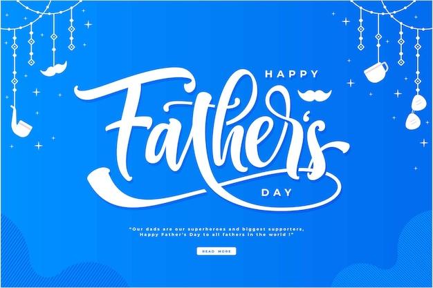 Fond d'illustration de lettrage bleu joyeux fête des pères
