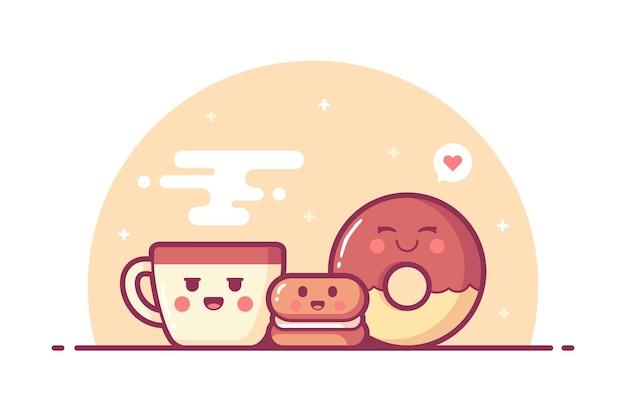 Fond d'illustration de petit déjeuner mignon dessiné à la main
