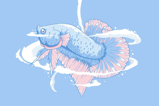 Fond d'illustration de poisson betta dessiné à la main