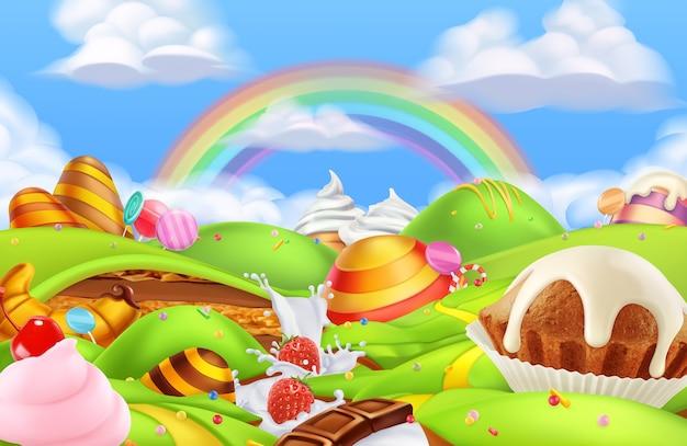 Fond d'illustration de terre de bonbons sucrés