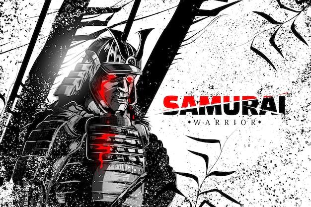 Fond illustré de samouraï réaliste