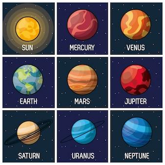 Fond d'images avec le soleil et les planètes du système solaire