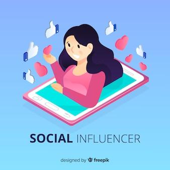 Fond d'influence social isométrique