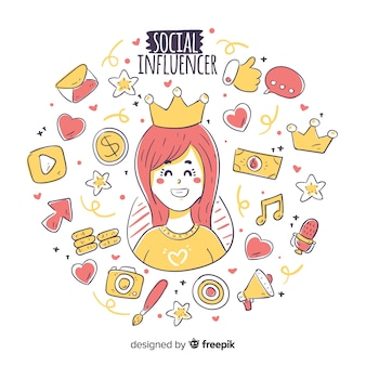 Fond d'influenceur social dessiné à la main