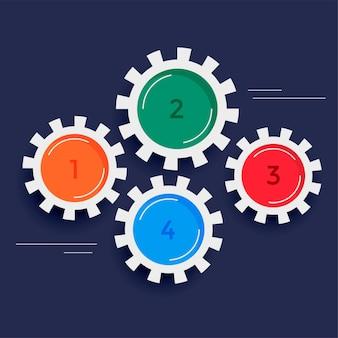 Fond d'infographie engrenages quatre étapes