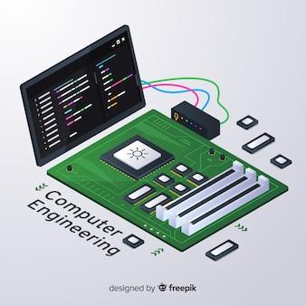 Fond d'ingénierie informatique isométrique
