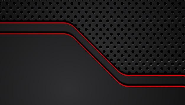 Fond d'innovation cadre noir métallique abstrait rouge mise en page design innovation tech.