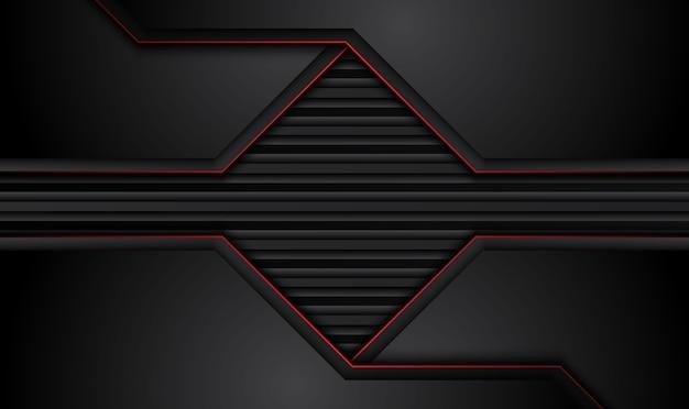Fond d'innovation technologique abstrait cadre noir rouge métallique