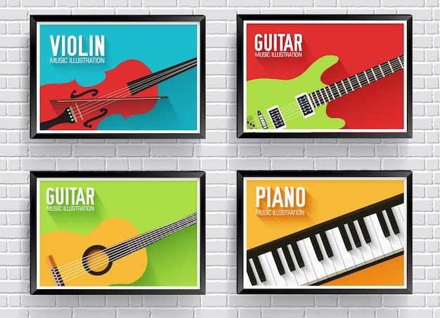 Fond d'instruments de musique classiques colorés