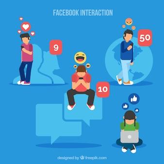 Fond d'interaction facebook avec des émoticônes