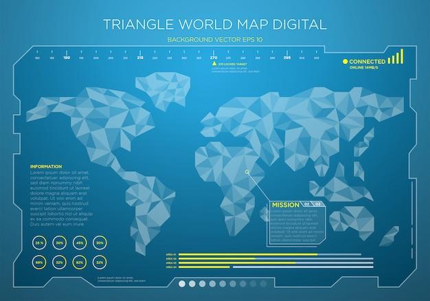 Fond d'interface numérique carte monde haute technologie