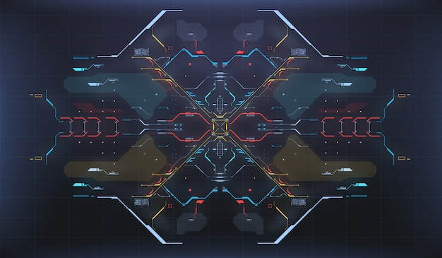 Fond de l'interface utilisateur hud. interface radar. concept d'écran hightech de vaisseau spatial.