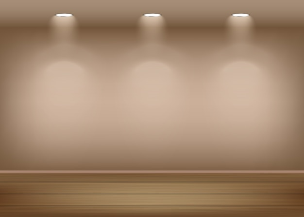 Fond intérieur de galerie d'art éclairé et éclairé avec des projecteurs mur vide