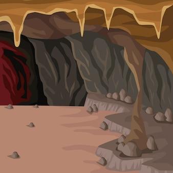Fond intérieur de la grotte dans la montagne profonde