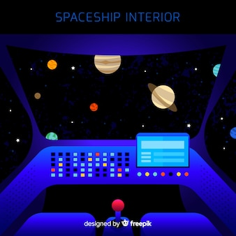 Fond intérieur de vaisseau spatial avec un design plat
