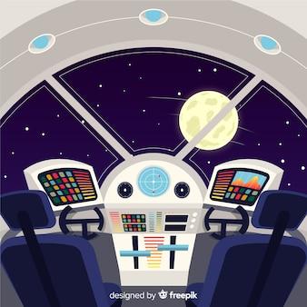 Fond intérieur de vaisseau spatial moderne avec un design plat