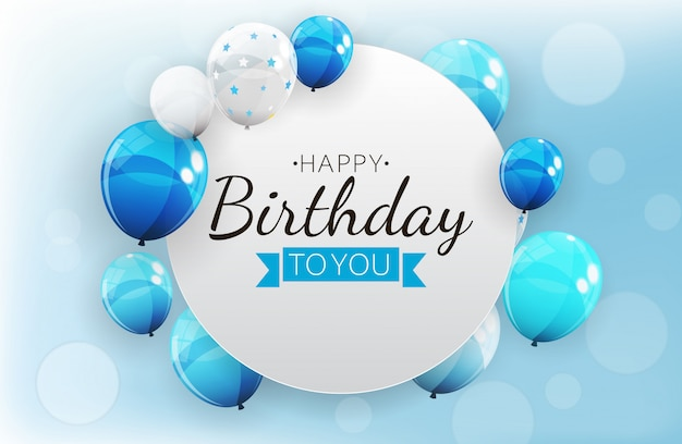 Fond d'invitation d'anniversaire avec des ballons. illustration vectorielle