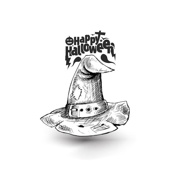 Fond d'invitation de fête de chapeau de magicien de sorcière d'halloween