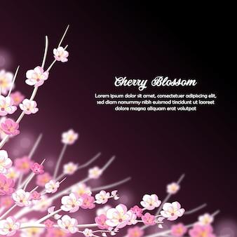 Fond d'invitation de fleurs de cerisier violet et blanc rêveur