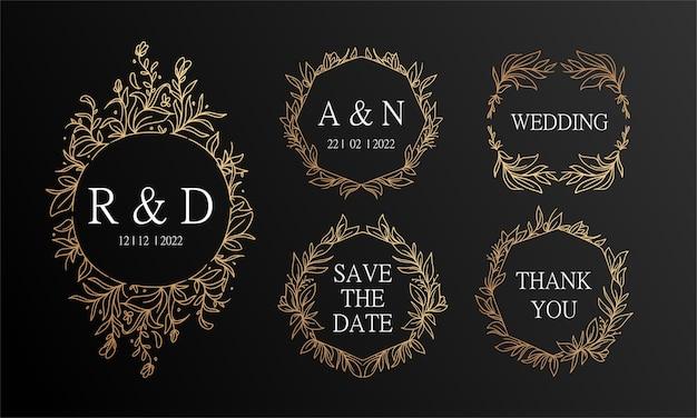 Fond d'invitation de mariage couronne florale vintage noir et or dessiné à la main