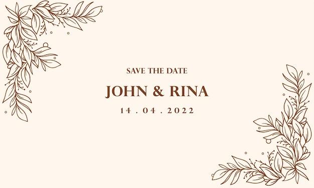 Fond d'invitation de mariage floral dessiné à la main vintage