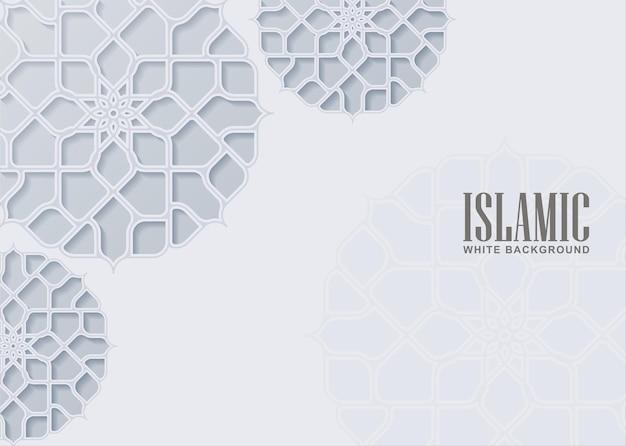 Fond Islamique Blanc Avec Style Mandala Vecteur Premium