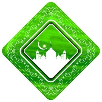 Fond islamique avec cadre floral