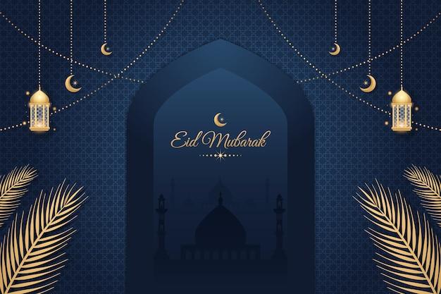 Fond islamique décoratif d'eid mubarak avec la mosquée et les lanternes