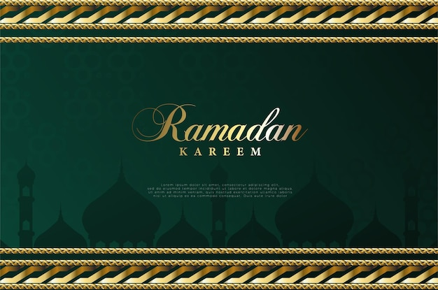 Fond islamique avec illustration de l'écriture du ramadan et cadre en or luxueux.