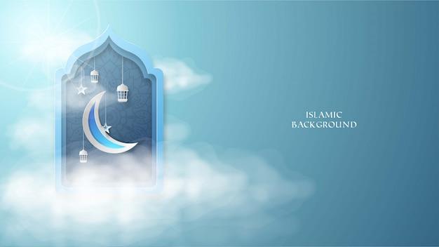 Fond islamique avec illustration de lune, étoile, ciel et laterne