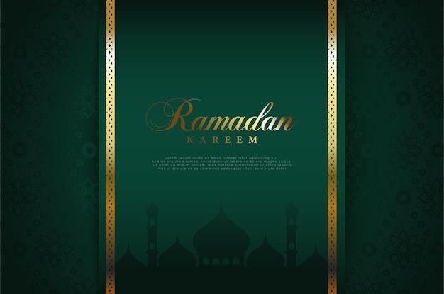 Fond islamique avec des illustrations éclatantes de l'écriture du ramadan et des frontières dorées.