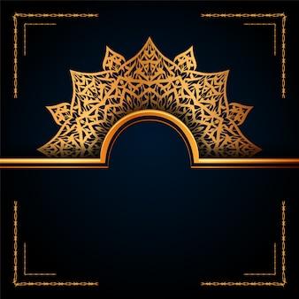 Fond islamique de luxe mandala ornemental avec des motifs arabesques dorés