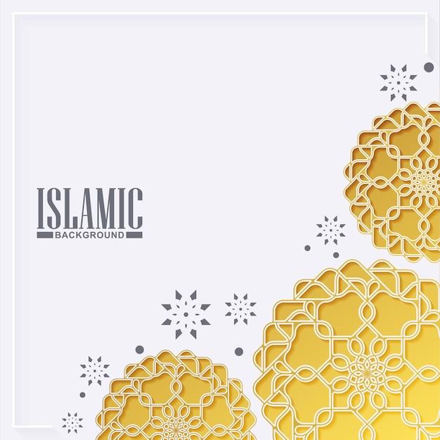 Fond Islamique Avec Mandala Doré Vecteur Premium