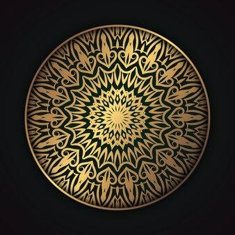 Fond islamique de style arabe doré décoration dorée de mandala de luxe