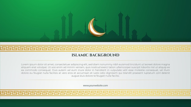 Fond islamique vert avec croissant de lune