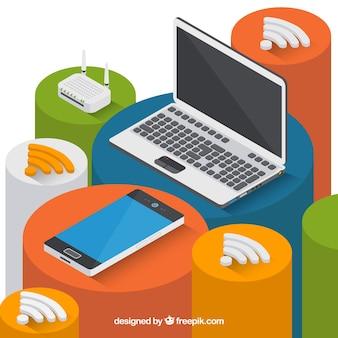 Fond isométrique avec appareils électroniques et signal wifi