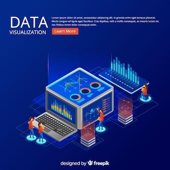Fond isométrique de concept de visualisation de données