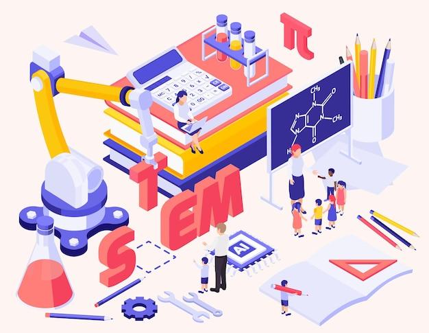 Fond isométrique de l'éducation stem avec des jouets créatifs de calculatrice d'articles de papeterie et de petits personnages d'enfants et d'enseignants près de tableau noir