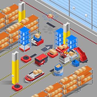 Fond isométrique entrepôt robotique