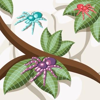 Fond isométrique d'insectes exotiques