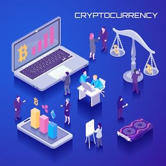 Fond isométrique de la monnaie virtuelle