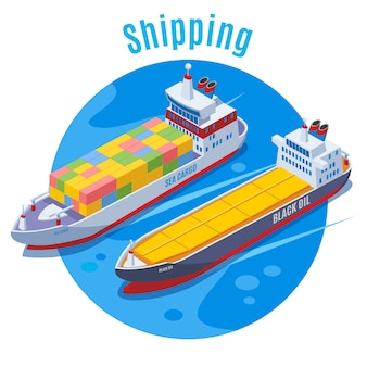 Fond isométrique de port maritime rond avec deux navires logistiques sur fond bleu et gros titre expédition illustration